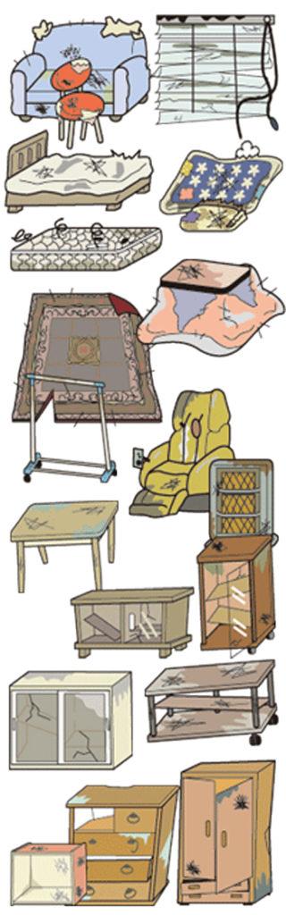 家具の回収、処分の品目