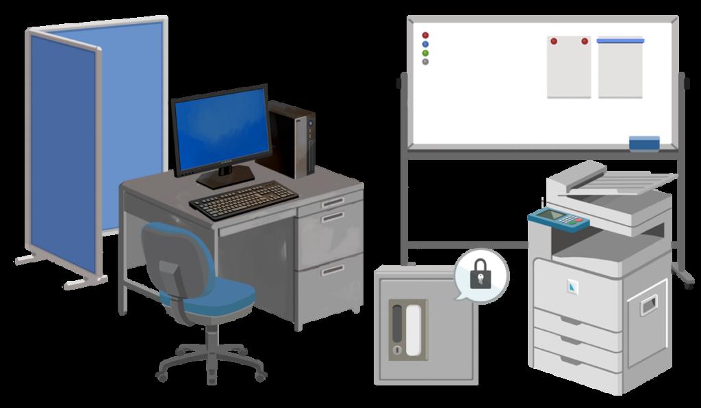 不用なオフィス家具、OA機器の絵